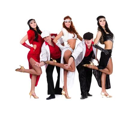cabaret dancer team dancing   Isolated on white background in full length  photo