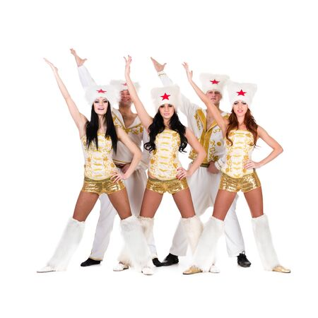 papakha: Dancer team wearing a folk ukrainian cossack  costumes dancing   Isolated on white background in full length