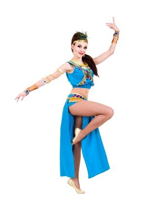 Dancing pharaoh woman wearing a egyptian costume  Isolated on white background in full length  photo