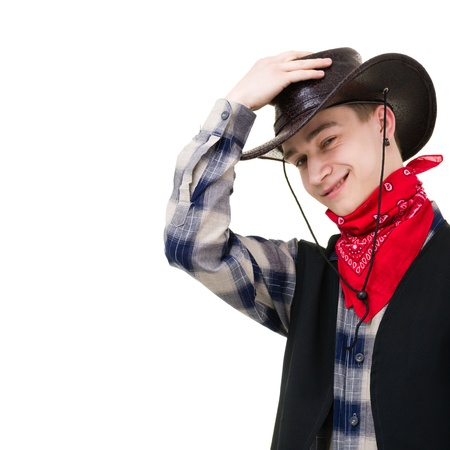 young man in a cowboy hat studio portrait isolated on white photo
