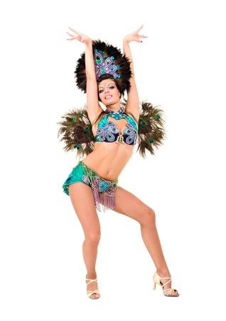 Beautiful carnival dancer woman full length studio portrait isolated on white photo