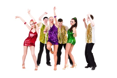 Disco dancer team dancing   Isolated on white background in full length  photo