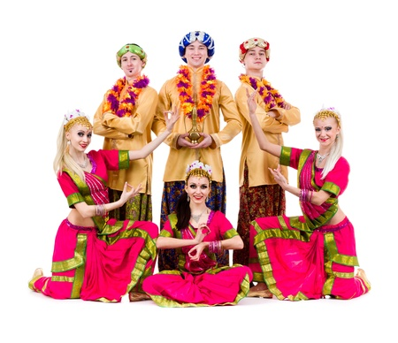 trendy girl: dance team dressed in Indian costumes posing   Isolated on white background in full length  Stock Photo