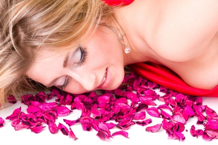 shot of sexy woman in red dress with rose petals, isolated on white background Stock Photo - 18786069