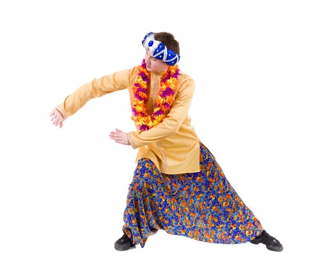 qameez: man doing yoga exercise with pointing gesture  Isolated on white background in full length