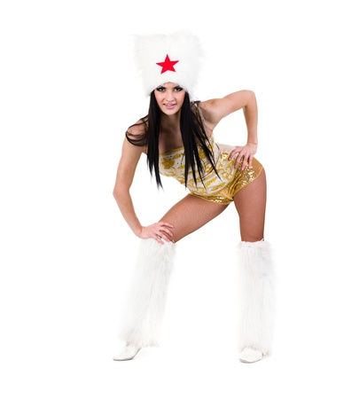 papakha: Young woman cossack dancer dressed in stylish costume   Isolated on white background in full length  Stock Photo
