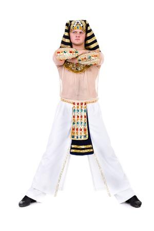 pharoah: Dancing pharaoh wearing a egyptian costume  Isolated on white background in full length  Stock Photo