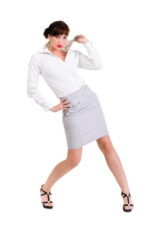 Full body portrait of business woman, isolated over white background photo