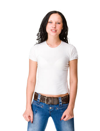 young woman in casual clothes, isolated photo