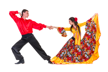 Gypsy flamenco dancer couple, isolated on white in full length photo