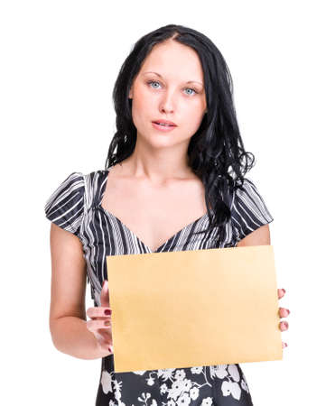 Happy Young Business Woman Holding Blank Placard. Isolated On White photo
