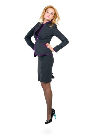 body image: Successful young business womanjumping. Isolated full body image on white background. Caucasian businesswoman.