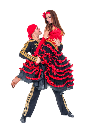 gypsy: Gypsy flamenco dancer couple, isolated on white in full length