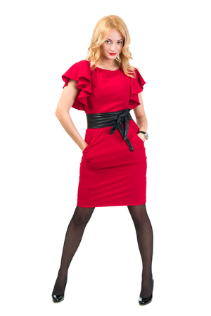 Beautiful Busyness Woman Blonde in red dress. Isolated on white background in full length.