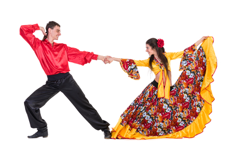 danseuse flamenco: Gypsy quelques danseur flamenco, isolé sur blanc en pleine longueur Banque d'images