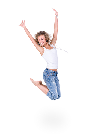 movement people: happiness, freedom, movement people, smiling young woman jumping,  isolated on white background in full length