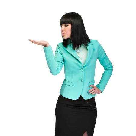 attractive  female: Portrait of happy young business woman with holding gesture isolated on white background