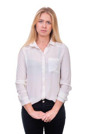 persona triste: Primer retrato de mujer triste y deprimido aislado en blanco foto de estudio Foto de archivo