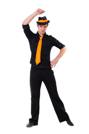 stylish man: Disco dancer showing some movements against isolated white background with copyspace