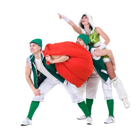leprechaun: friendly people dressed like a funny gnomes dancing. Isolated on white background in full length.