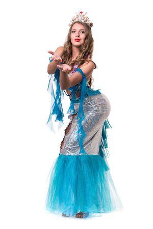 undine: Carnival dancer girl dressed as a mermaid posing, isolated on white background in full length. Stock Photo