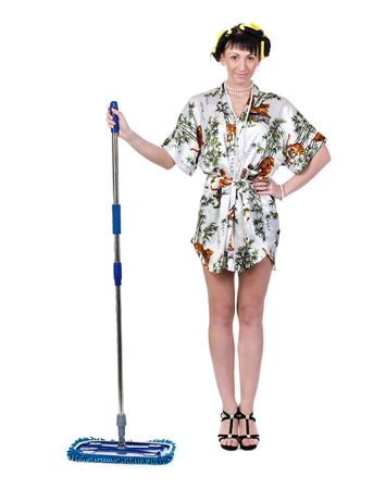 homemaker: homemaker with broom against isolated white background