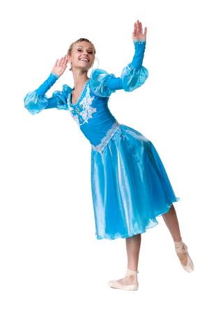 bailarina de ballet: un cauc�sico joven bailarina bailarina de ballet, aislado en todo el cuerpo en el fondo blanco