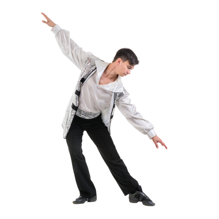 stylish man: Young and stylish modern ballet dancer, isolated on white background. Full body.