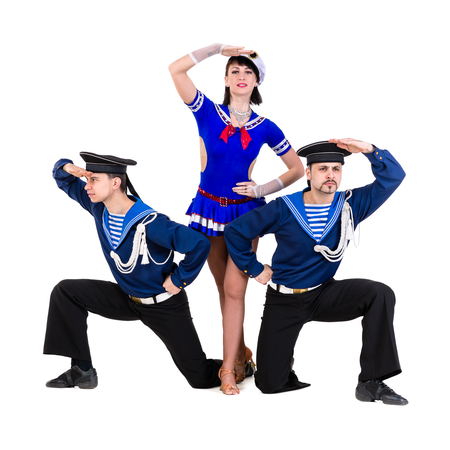 sailor: dancer team dressed as a sailors posing. Isolated on white background in full length.