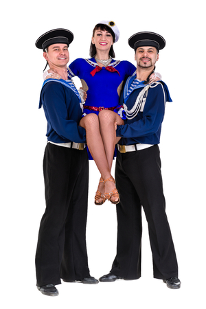 flatfoot: dancer team dressed as a sailors posing. Isolated on white background in full length.