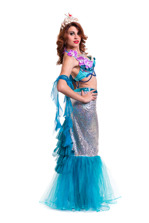 beautiful mermaid: Carnival dancer woman dressed as a mermaid posing, isolated on white background in full length.