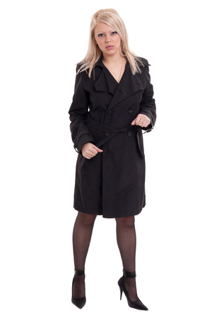 panty hose: Full length portrait of sexy young blonde woman in black clothes Stock Photo