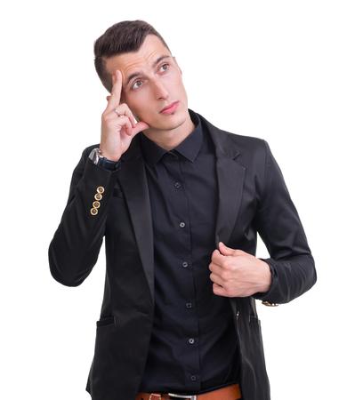 visage homme: Portrait Gros plan de l'homme triste et d�prim� isol� sur blanc tourn� en studio