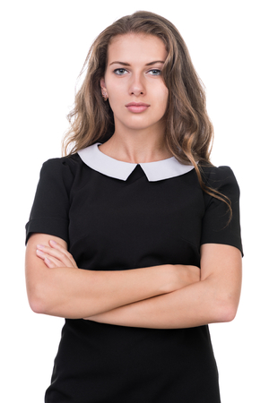 dubious: young woman looks skeptical, isolated on white studio shot