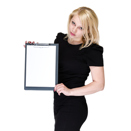 executive women: Happy young business woman showing blank signboard, isolated on white