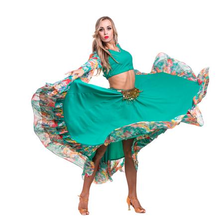 flamenco: Flamenco dancer  woman posing, isolated on white background in full length