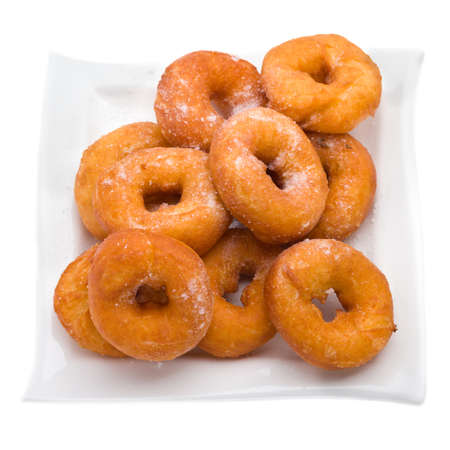 doughy: fried donuts isolated on a white background Stock Photo