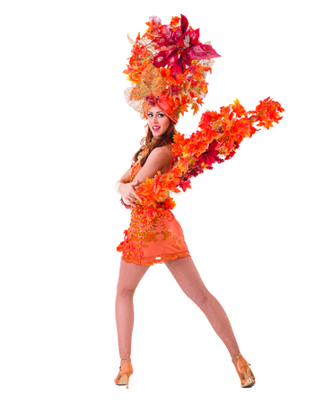 copyspace: carnival dancer woman dancing against isolated white background with copyspace Stock Photo