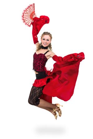 bailando flamenco: joven bailando, Flamenco aislado en el cuerpo sobre fondo blanco