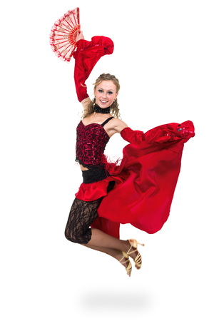 young woman dancing, flamenco isolated in full body on white background
