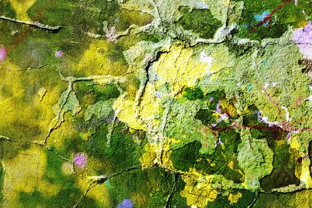 crumbling: Abstract texture of old green concrete fence with crumbling plaster