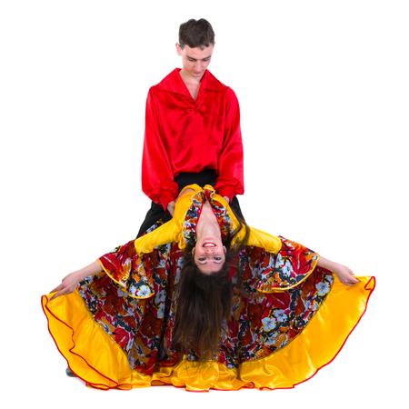 gitana: Gypsy pareja bailarina de flamenco, aislado en blanco en longitud completa