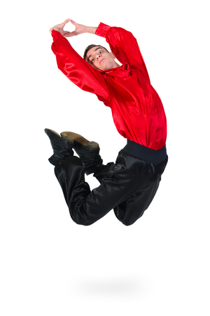 bailarin hombre: Flamenco dancer man jumping, isolated on white in full length