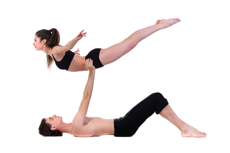 couple man and woman exercising fitness dancing, isolated on white in full length