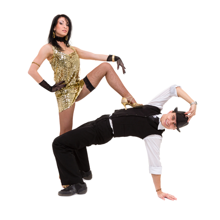 Cabaret dancer couple dancing. Isolated on white background in full length. Stock Photo