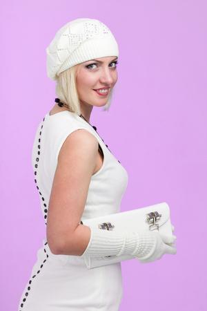knitwear. young woman wearing a winter cap
