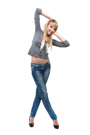 Smiling young woman isolated over white