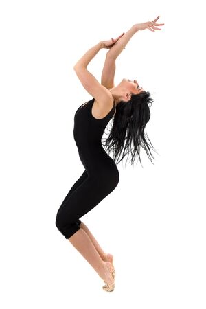 portrait of woman gymnast, isolated on white