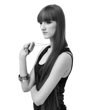 Black and white portrait of glamour young girl with beautiful long hair photo