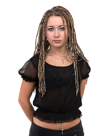90f1abeb7b6 portrait of young smiling woman with dreadlocks. Stock Photo